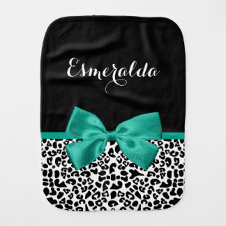 Leopard Print Emerald Green Ribbon Bow Chic Name Baby Burp Cloths