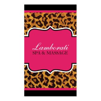 Leopard Print Fashion Designer Elegant Modern Pink Business Card