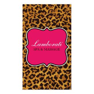 Leopard Print Fashion Designer Elegant Modern Pink Double-Sided Standard Business Cards (Pack Of 100)
