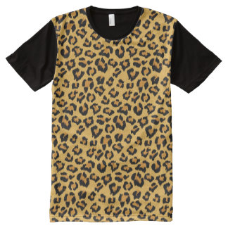 Leopard Print Faux Fur Animal Skin All-Over-Print T-Shirt