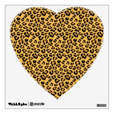 Valentines Themed Leopard Print Faux Fur Heart Wall Decal