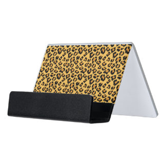 Leopard Print Faux Fur Pattern in Natural Shades Desk Business Card Holder