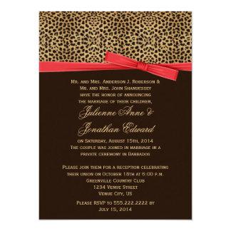 """Leopard Print FAUX Red Ribbon Post Wedding 5.5"""" X 7.5"""" Invitation Card"""