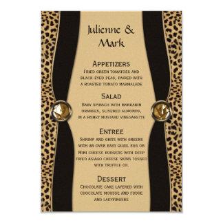 Leopard Print FAUX Ribbon Jewel Menu Card