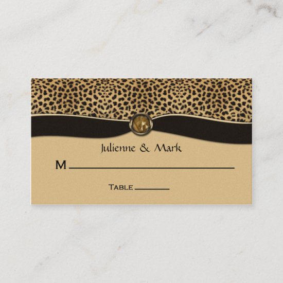 Leopard Print FAUX Ribbon Jewel Place Cards