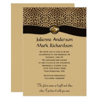 leopard print faux ribbon jewel wedding invitation - Print Wedding Invitations