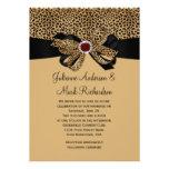 Leopard Print FAUX Ruby Diamonds Ribbon Wedding Invites