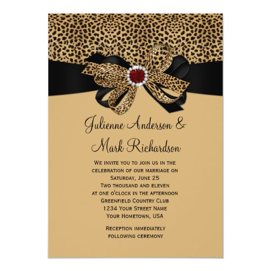 Leopard Print FAUX Ruby Diamonds Ribbon Wedding Invitation