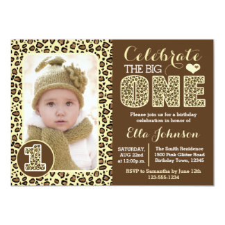 Leopard Print First Birthday Party Invitation
