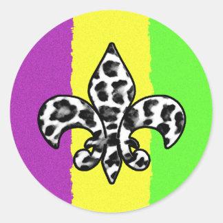 Leopard Print Fleur De Lis Classic Round Sticker