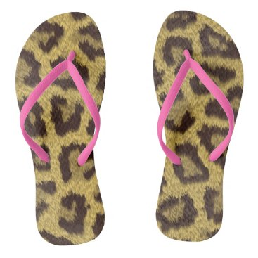 Beach Themed Leopard Print Flip Flops