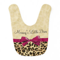 Leopard Print Fuchsia Pink Bow Girl Baby Bib