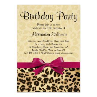 Leopard Print Fuchsia Pink Bow Girl Birthday Party Card