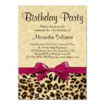 "Leopard Print Fuchsia Pink Bow Girl Birthday Party 4.5"" X 6.25"" Invitation Card"