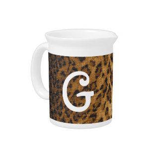 Leopard Print G monogram initials Beverage Pitcher