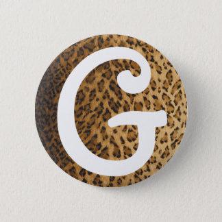 Leopard Print G monogram initials Button