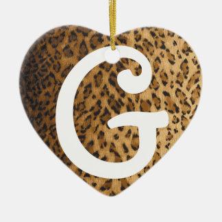 Leopard Print G monogram initials Ceramic Ornament