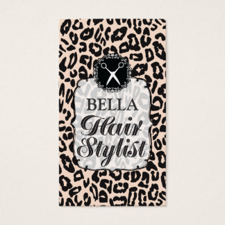 Leopard Print Glam Hair Stylist Appointment Cards