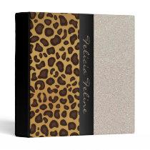 Leopard Print Glitter Personalized Glam Girly Binder
