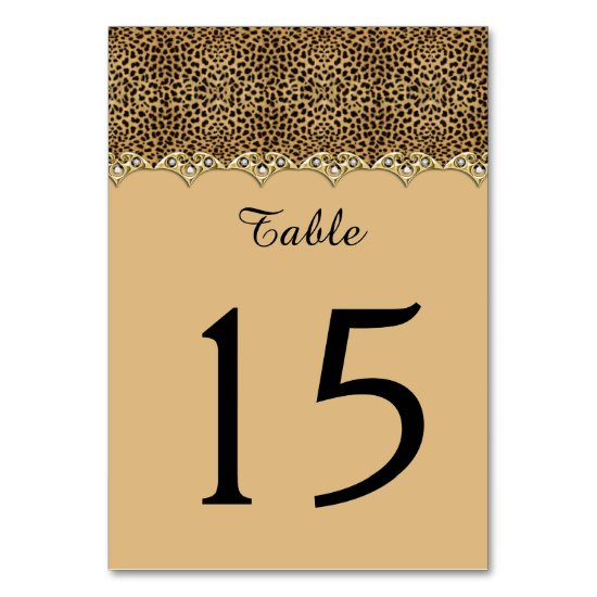 Leopard Print Gold and Diamonds Table Cards