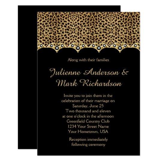 Leopard Print Gold Diamonds Bling Wedding Invitation Zazzle Com