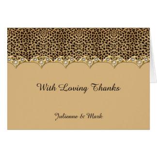 Leopard Print Gold Diamonds Thank You Card