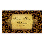 Leopard Print Gold Leopard Heads Business Card Templates