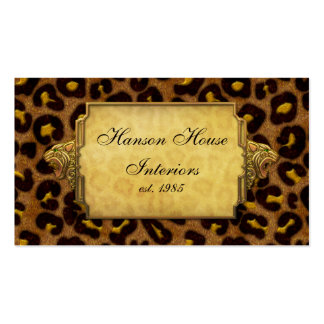 Leopard Print Gold Leopard Heads Double-Sided Standard Business Cards (Pack Of 100)