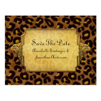 Leopard Print Gold Leopard Heads Save The Date Postcard