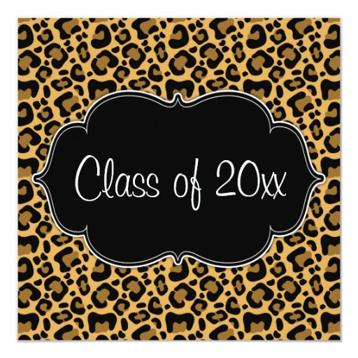 "Leopard Print Graduation Party Announcement 5.25"" Square Invitation Card"