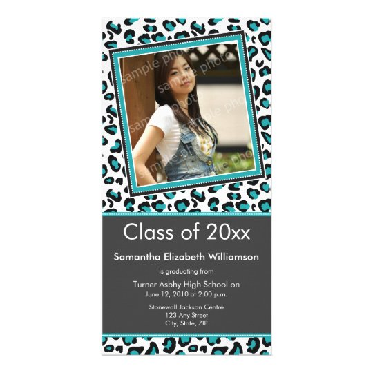 Leopard Print Graduation Photo Announcement (aqua)