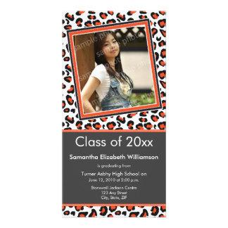 Leopard Print Graduation Photo Announcement orange Photo Card
