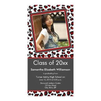 Leopard Print Graduation Photo Announcement (red) Photo Card