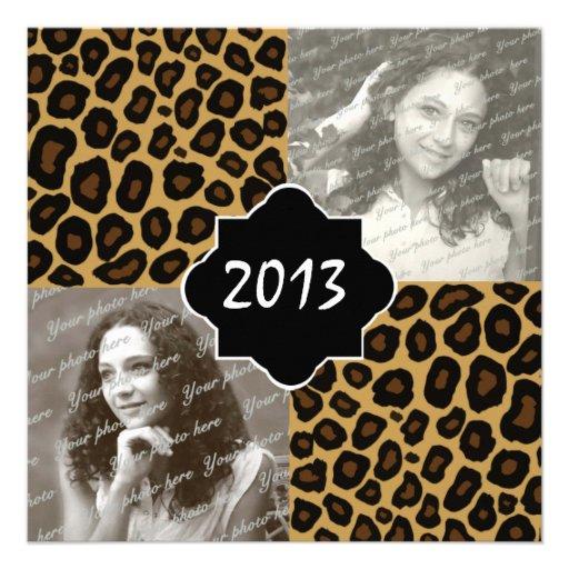 Leopard Print Graduation Photo Announcements