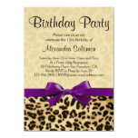 Leopard Print Grape Purple Bow Girl Birthday Party Card