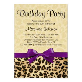Leopard Print Grape Purple Bow Girl Birthday Party Card