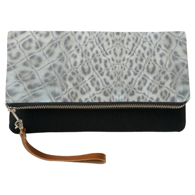 Leopard Print Graphic Art Fold over Clutch