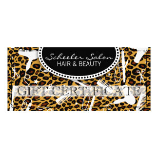 Leopard Print Hair & Beauty Gift Certificate Full Color Rack Card