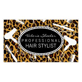 Leopard Print Hair Salon Tools Business Card Templates