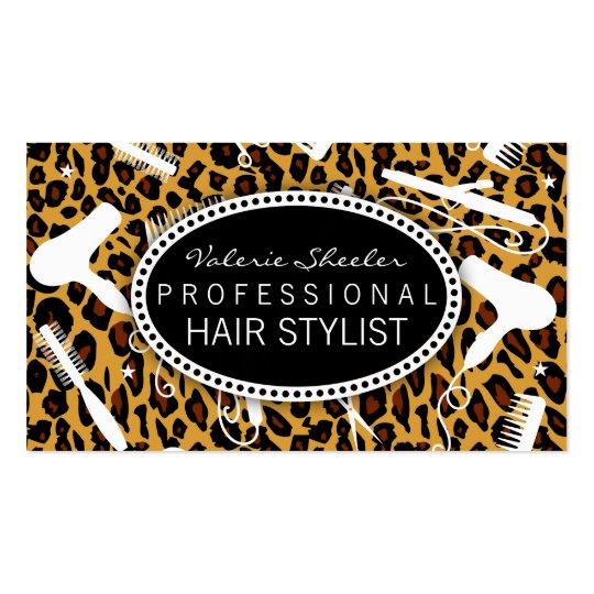 Leopard Print Hair Salon Tools Business Card