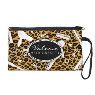 Leopard Print Hair Salon Tools Wristlet