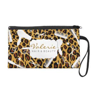 Leopard Print Hair Salon Tools Wristlet Purse