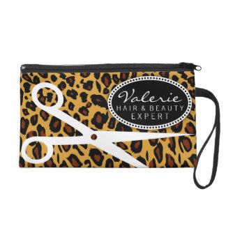 Leopard Print Hair Shears Wristlet Clutch