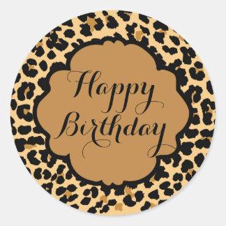 Leopard Print Happy Birthday Stickers