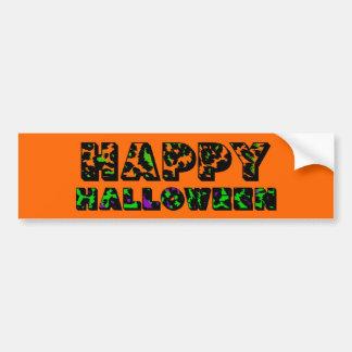 Leopard Print Happy Halloween Bumper Sticker