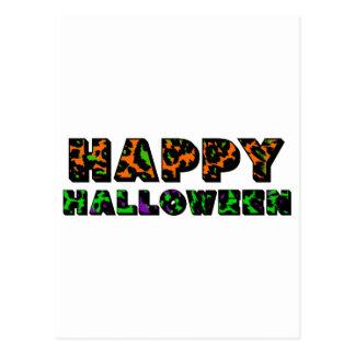 Leopard Print Happy Halloween Postcards