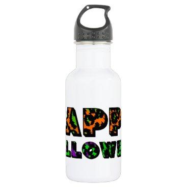Halloween Themed Leopard Print Happy Halloween Water Bottle