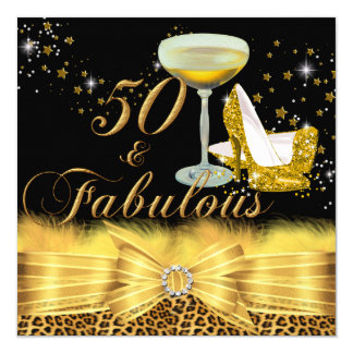 Leopard Print & Heels Gold 50 & Fabulous Birthday Card