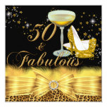 Leopard Print & Heels Gold 50 & Fabulous Birthday 5.25x5.25 Square Paper Invitation Card