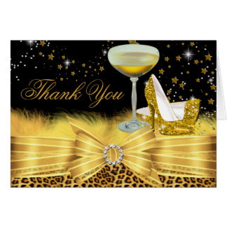 Leopard Print & Heels Gold Thank You Card